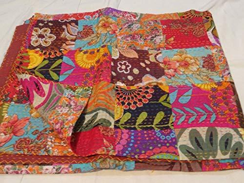 Tribal Asian Textiles Floral matelassé Kantha Couvre-Lits, Ralli, Gudari Main Tapestery Parure de lit réversible