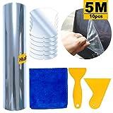 HuLuBB 5m Set di pellicole protettive per auto, pellicola trasparente con 2 raschiatori 6pcs Adesivi per maniglie auto e un pezzo di asciugamano pulito per la protezione del veicolo