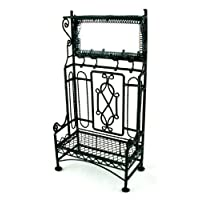 Dolls House Miniature Furniture Black Wrought Iron Hall Coat Stand with Mirror