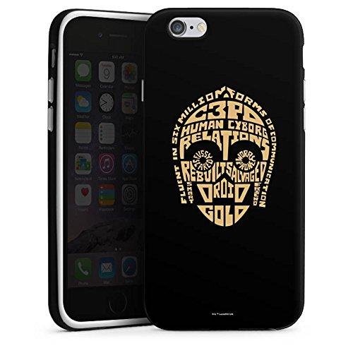 Apple iPhone X Silikon Hülle Case Schutzhülle Star Wars Merchandise Fanartikel C3PO Typo Silikon Case schwarz / weiß