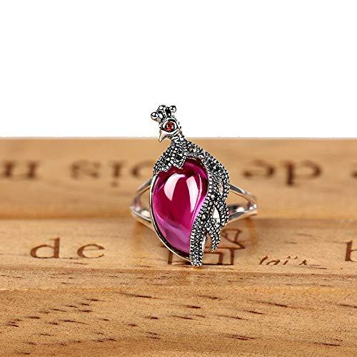 GHY Ring Mode S925 Silber Mit Rubin Pfau Ring Trend Vintage Edlen Ring Schmuck,Bild,Nein.19