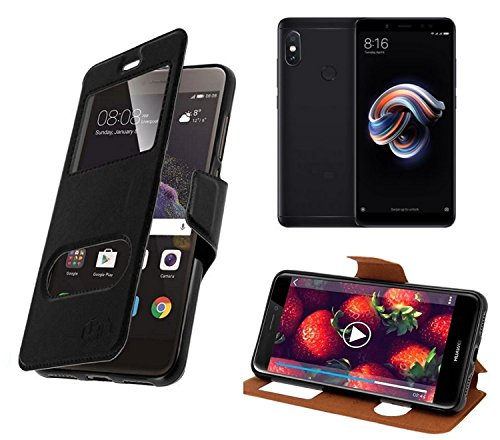 New & Teca–Carcasa Xiaomi Redmi Note 5Funda–Funda con 2Fênetres Piel sintética con Tapa magnética