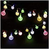 LED Solar Lichterkette Kristall Kugeln 4.5 Meter 30er Mehrfarbig, Mr.Twinklelight Außerlichterkette Deko für Garten, Bäume, Terrasse, Weihnachten, Hochzeiten, Partys, Innen und außen