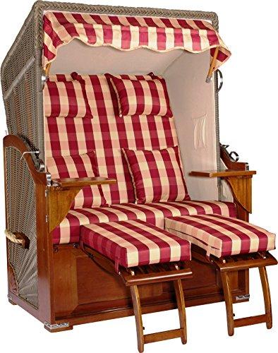 foolonli Strandkorb Luxus 2 Sitzer fachmänisch aufgebaut Rot kariert Mahagoni Holz XXL