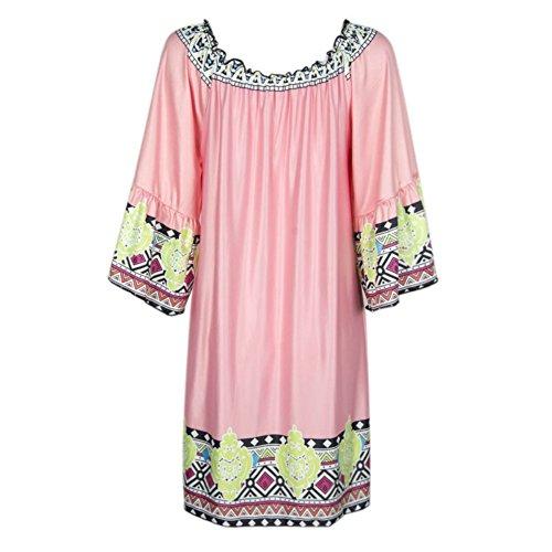Etosell Femme De I'epaule Imprimee Beach Holiday Court Mini Robe Rouge