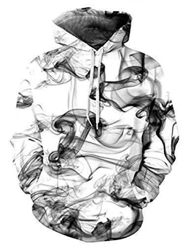 CYFLY® Unisex Pullover Buntes 3D Hoodie Galaxy Sweatshirt für Männer und Frauen Cooler Graphic Prints Sweater mit großer Tasche @ XXL / 3XL_Black_Smoke