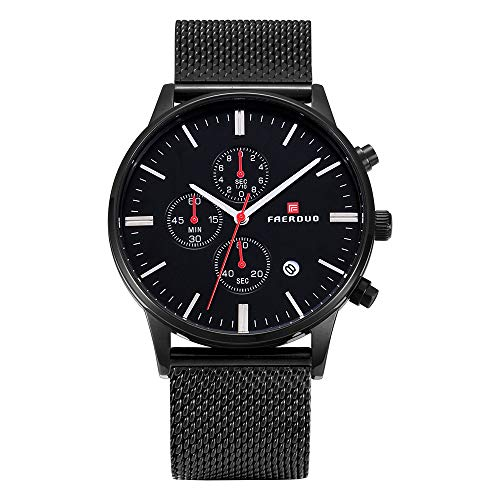 FAERDUO reloj de pulsera para caballero, cuarzo, resistente al agua, cronógrafo, visualización de fecha, reloj de negocios, estilo minimalista, moda, deportes, uso de regalos, eventos (Negro)