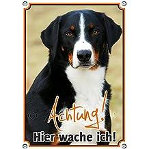 Hundeschild Appenzeller Sennenhund - HIER WACHE ICH! stabiles Metallschild TOP Qualität, DIN A5