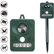 Surenhap Ultrasonic Animal Repeller, repellente a energia solare, con attivazione di movimento, a ultrasuoni e lampeggiante a LED per esterni impermeabile repellente per cani, gatti, volpi, topi, uccelli, Skunks