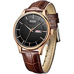 BUREI Men's Day and Date Calendar Display Big Face Precise Quartz Wrist Watches with Brown Leather Strap