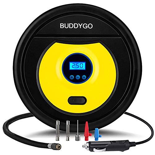 BUDDYGO Auto Luftpumpe, 12V Luftkompressor, Digital LCD Bildschirm Mini Reifenfüller tragbare Reifen Inflator Kompressor elektrischer mit LED-Notlicht für Auto, Motorrad, Fahrräder, Kajaks, Bäll