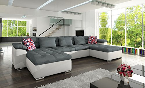 Ecksofa Wicenza Grand! Design Big Sofa Eckcouch Couch! mit Schlaffunktion Bettfunktion! Wohnlandschaft! U-Form, schmutzabweisender Stoff (Soft 017 + Granada 2725 + Amber 70) - 2
