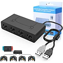HEYSTOP Adaptateur Manette Gamecube Switch Wii U/PC, Adaptateur Switch pour Wii U avec Turbo et Boutons d'accueil pour Nintendo Switch, Gamecube Controller Adapter pour Super Smash Bros