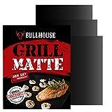 Bullhouse® Grillmatten (3er Set) für Grill & Backofen | Extra dick & Garantiert hitzebeständig bis 260°C | Antihaftbeschichtung | Grillmatte 40 x 33 cm