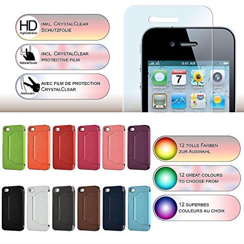 iPhone 4S Hülle Weiß mit Sicht-Fenster [OneFlow Window Cover] Schutzhülle Ultra-Slim Handyhülle für iPhone 4/4S Case Flip Handy-Tasche Stand-Funktion BRAUN