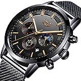 LIGE Hombres Relojes Moda Ocio Negocios Analógico Cuarzo Relojes Hombre Impermeable Acero Inoxidable Negro Cinturón de Malla Cronógrafo Relojes