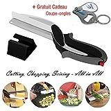Küche Schere Slicer, Clever Gemüseschneider Cutter, 2-in-1 Küchenschere und Küchenmesser mit integriertem Schneidebrett, Babynahrungsergänzungs Cutter