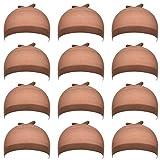 12 Pezzi Copricapo per Parrucche di Nylon per Donne e Uomini (Marrone Chiaro)