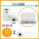 10 x EC Cash Thermorollen | Breite: 57 mm – Durchmesser: 35 mm - Hülsendurchmesser: 12 mm – Länge: 25 m | für Bondrucker, EC-Terminals, etc.