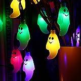 Qedertek Decoración halloween, Cadena de Luces Solare de Fantasma 6M 30 LED, Luces de Halloween Guirnalda de Luces para Exterior Decoración del Hogar para Jardín