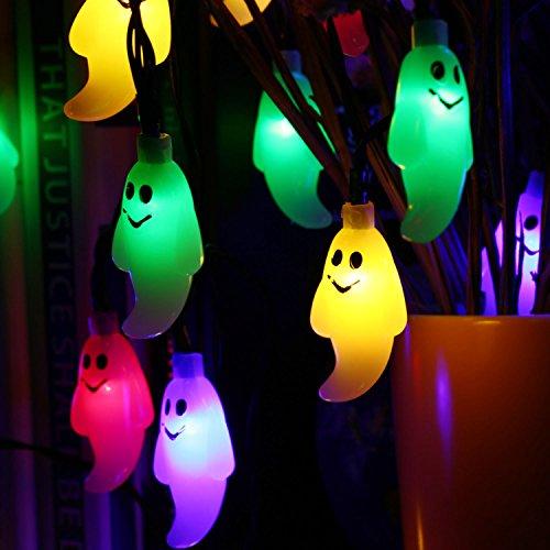 Qedertek Halloween Deko, Solar Geister Lichterkette mit 30 LED Bunt 6 Meter 2 Modi Party Lichterketten Außen Beleuchtung für Halloween, Garten, Weihnachten, Haus, Hof