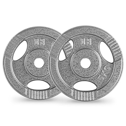 Capital-Sports-IP3H-5-Weight-Plates-Pair-for-Optimal-Home-Strenght-Training-Suitable-for-Long-and-Short-Dumbells-Robust-Production-of-Cast-Iron-30mm-5kg-Grey-Powder-Coating-Grey
