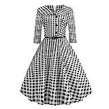 Longra Kleid Damen Vintage 50er Jahre Rockabilly Kleid 3/4 Ärmel Retro Swing Elegantes Abendkleid mit Knöpfe Abendkleider Cocktailkleid Party (S, Schwarz)