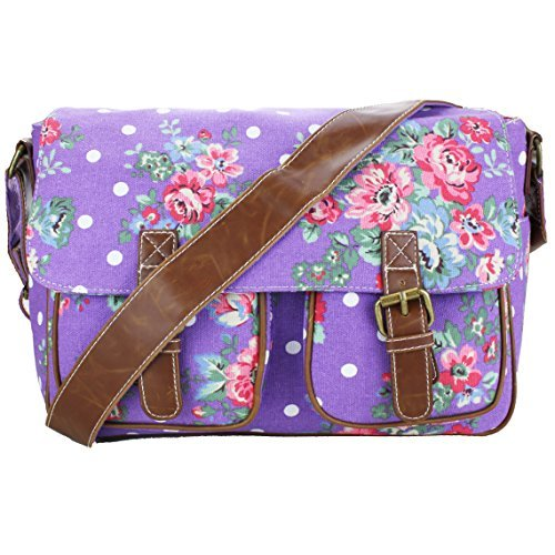 Miss Lulu Womens Canvas Satchel Bag Flower Purple