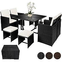 TecTake Conjunto muebles de jardín en ratán sintético comedor juego 4+4+1 + funda completa   tornillos de acero inoxidable - disponible en diferentes colores - (Negro   no. 402094)