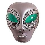 Alien Maske Außerirdischer Kopf silber UFO Faschingsmaske Space Karnevalsmaske Halloween Alienmaske Intergalaktische Mottoparty Kostüm Zubehör