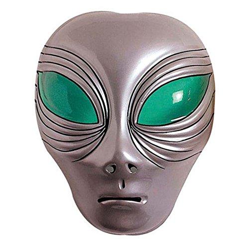 NET TOYS Alien Maske Außerirdischer Kopf silber UFO Faschingsmaske Space Karnevalsmaske Halloween Alienmaske Intergalaktische Mottoparty Kostüm ()