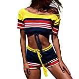QingJiu Frauen Strickwaren Streifen Kurzarm Pullover Mode Lange Tops Hosenanzug(Gelb,Medium)