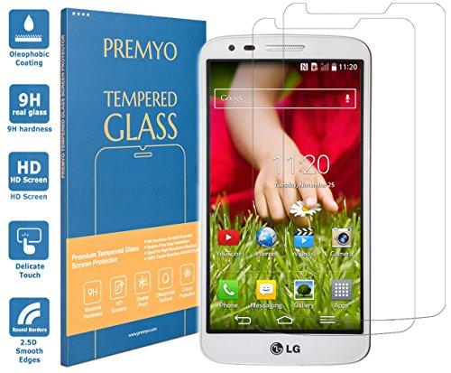 PREMYO 2 Stück Panzerglas Schutzglas Bildschirmschutzfolie Folie kompatibel für LG G2 Blasenfrei HD-Klar 9H 2,5D Gegen Kratzer Fingerabdrücke