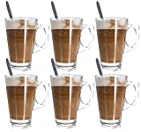 Glow, set di 6bicchieri da latte macchiato con cucchiaio–Premium Pack di eleganti alto 11cm tempera bicchieri da latte caffè Tazze 240ml e sei senza manico lungo cucchiaio–in confezione regalo–ideale anche per tè, caffè, latte, cappuccino, caffè, cioccolata calda, bevande e zuppe–compatibile con la maggior parte dei Tassimo, dolce gusto Nespresso machines