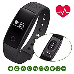 Blingco Sports Bracelet , Touch Button Bluetooth 4.0 Smart Fitness Tracker With Heart Rate Monitor, Step Pedometer, Sleep Monitor, Remote Shoot, Callsmssedentary Reminder, Calorie Counter, Alarm Clocktime, Find Phone For Android Ios Smartphone