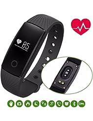 Blingco Bracelet de sport, Touche tactile Bluetooth 4.0 Intelligent Fitness Tracker avec cardiofréquencemètre, podomètre d'étape, Sleep Monitor, Remote Shoot, Call / SMS / Rappel sédentaire, Calorie Counter, Réveil de Time, Trouver un téléphone pour Android iOS Téléphone intelligent
