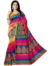 Winza Designer Saree with Blouse Piece (PB-183_Orange and Multicolor_Free Size)