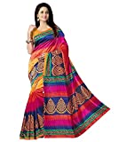 Winza Designer Cotton Silk Saree (New Top Silk Party Wear Sari Sarees_Orange Pink Red Blue)