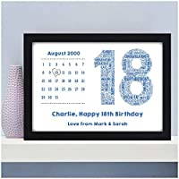 Personalised 13th, 16th, 18th, 21st, 30th, 40th, 50th Birthday Calendar Date Gifts for Him, Boys, Son, Dad, Grandad, Her, Girls, Daughter, Mum, Nan - A5, A4 Prints and Frames - 18mm Wooden Blocks