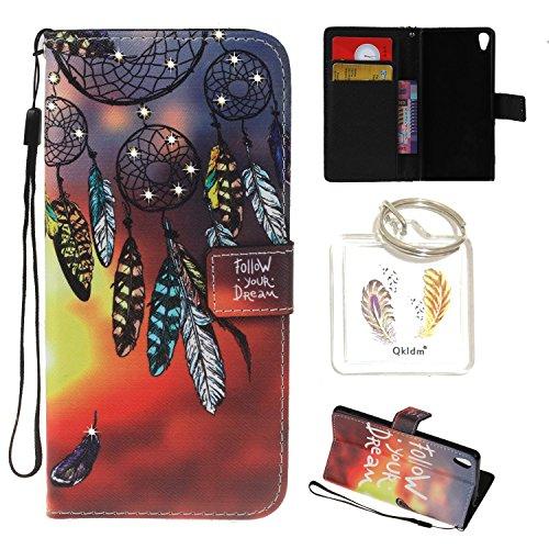 für Sony Xperia XA PU Leder Silikon Schutzhülle Diamant Handy case Book Style Portemonnaie Design für Sony Xperia XA + Schlüsselanhänger ( IUO) (7)