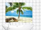 Fliesenaufkleber Fliesenbild Palme am Strand Badezimmer (Fliesenmaß:15x15cm(BxH)//Bildformat:180x120cm(BxH))