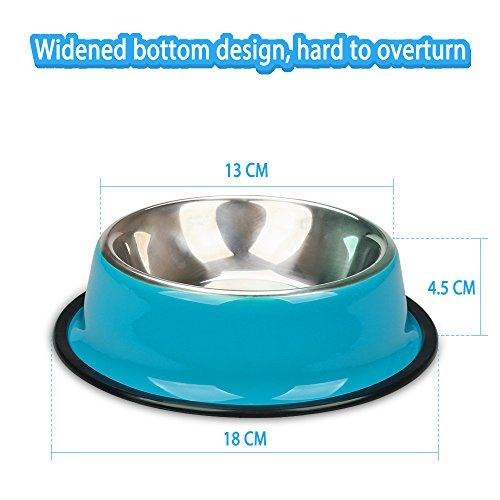 Miaosun-Pet-Bowls-for-Cats-Non-Skid-with-Natural-Rubber-Base-Variety-of-Colors-Food-Grade-Stainless-Steel-Dog-Food-And-Water-Bowls-for-Travel-Pack-of-2-BluePink