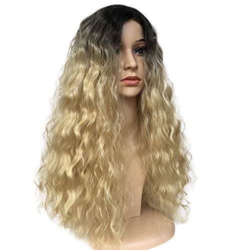 (DAKERTA Gold Langes Haar Lockiges Gewelltes Volles Kopf Halloween Perücken für Frauen Cosplay Kostüm Partei)