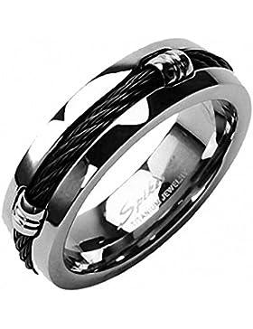 Titan Ring - Mit schwarzem Kordel-Design, 7 mm breit (Größe frei wählbar)