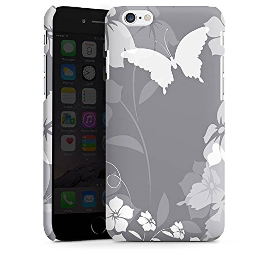 Apple iPhone X Silikon Hülle Case Schutzhülle Blume Schmetterling Grau Premium Case matt