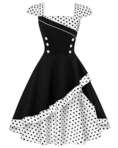 Kimring Women's Elegant Vintage Polka Dot Print Swing Cocktail Party Dress Nero/Bianco