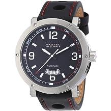 Nautec No Limit Shamal - Reloj analógico de caballero automático con correa de piel negra - sumergible a 100 metros