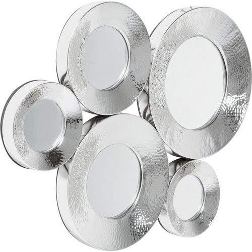 Kare Design Spiegel Circoli Cinque Silver, moderner, runder Designer Wandspiegel mit silber Rahmen, Silber (H/B/T) 46x62x3,5cm