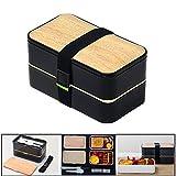Bento Box Lunchbox Brotdose Erwachsene BPA frei PlUIESOLEIL 2 Fächer Mit Besteck (schwarz)