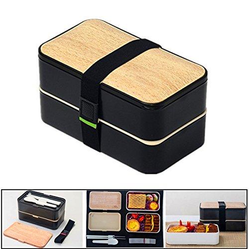 Brotdose Erwachsene Lunchbox Bento Box PlUIESOLEIL Lebensmittelbehälter Brotdose Bento Box 2 Fächer Mit Besteck  (schwarz)